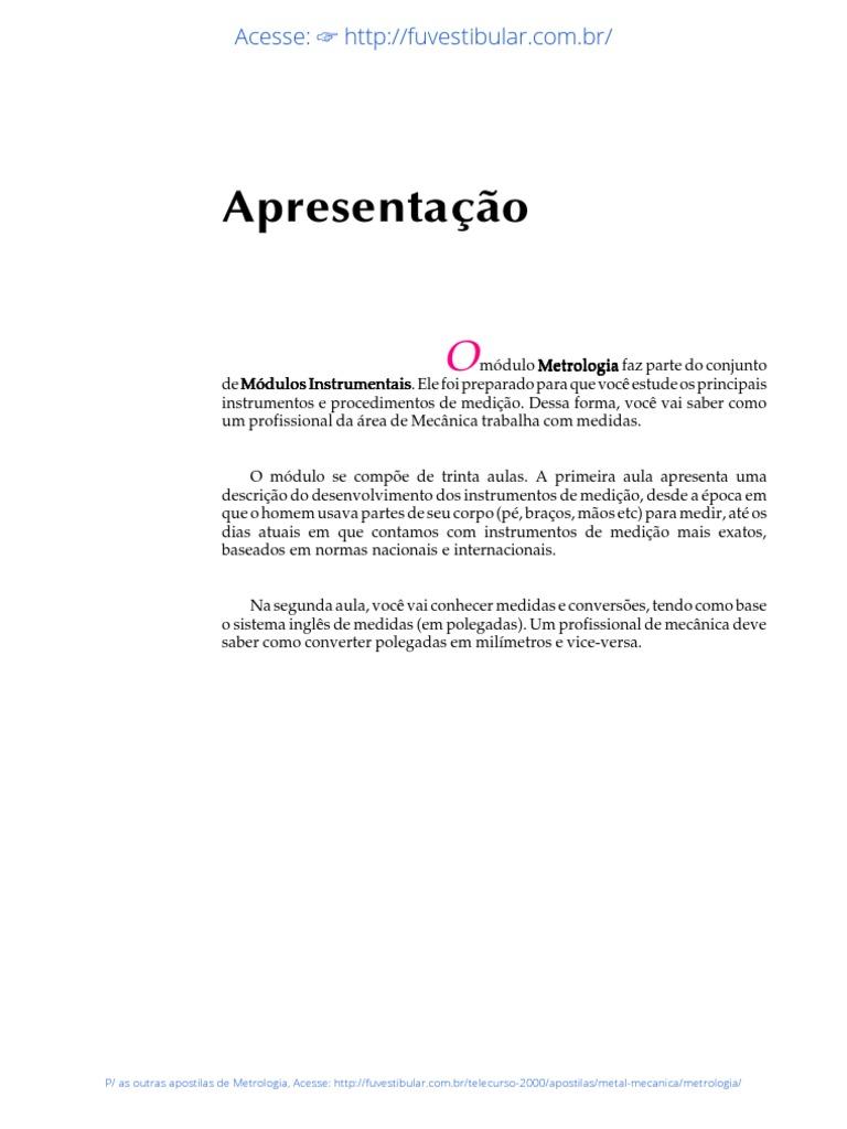 Apostila Telecurso 2000 Metrologia Download
