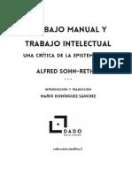 Sohn-Rethel, A. - Trabajo manual y Trabajo intelectual. Introducción