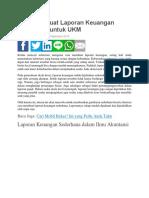 Cara Membuat Laporan Keuangan Sederhana Untuk UKM