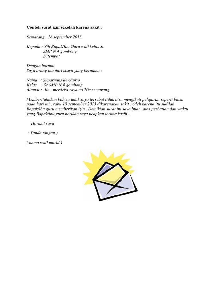 Contoh Surat Izin Sakit Untuk Sekolah Smp
