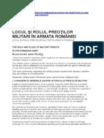 Net - Locul Preotilor Militari in Armata Romaniei