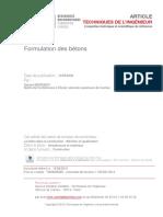 2 Formulation Des Bétons