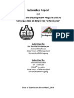 """internship report on """"Training and development and it's consequences on performance of employee"""