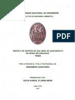 Modelo de Gestion de Una Obra de Saneamiento de Redes Secundarias