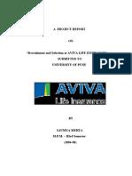 Study of Recruitment & Selection Process in Aviva Life Insurance By Saumya Mehta