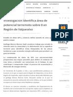 Investigación identifica área de potencial terremoto sobre 8 en Región de Valparaíso – DGEO – Universidad de Concepción