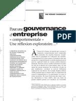 pour une gouvernance d'entreprise