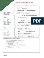 Avoir Etre Et Aller Exercice Grammatical Feuille Dexercices 37552