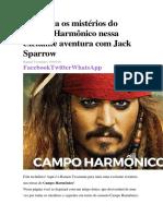 Descubra Os Mistérios Do Campo Harmônico Nessa Excitante Aventura Com Jack Sparrow