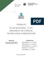 Trabajo Plan Nacional de Ciencia Tecnología e Innovación