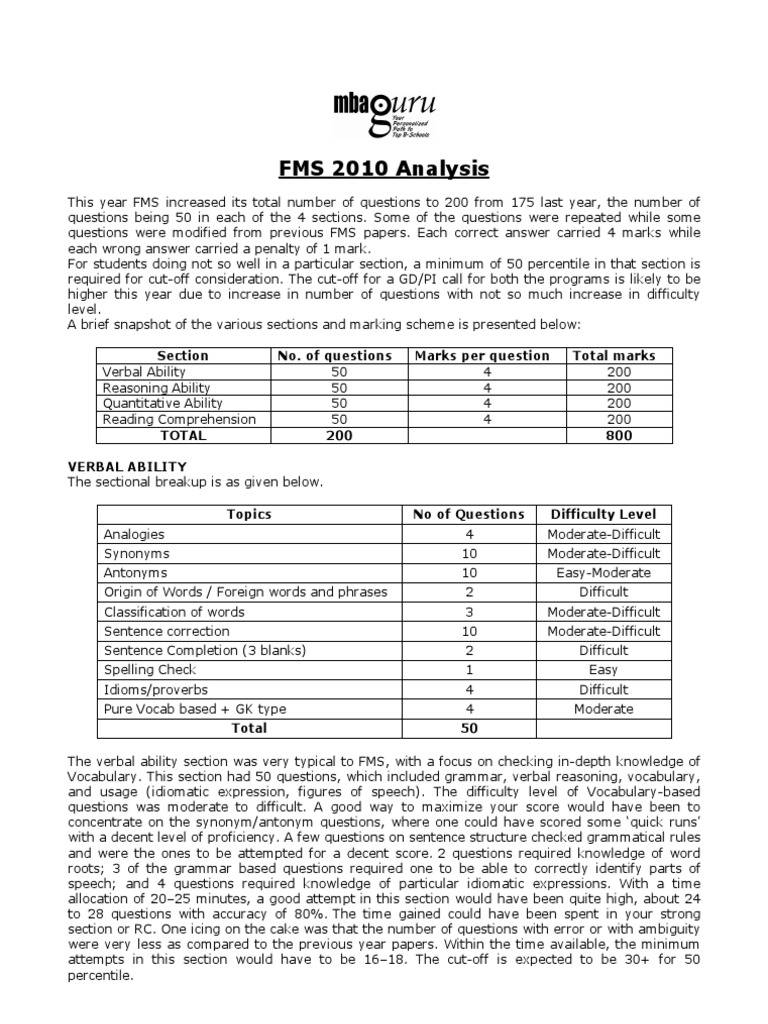 FMS 2010 Analysis MBAGuru | Question | Idiom