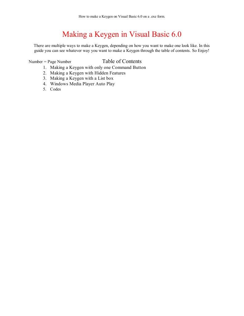 Making a Keygen in Visual Basic 6 | Número entero