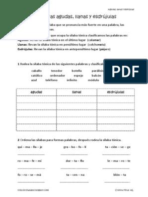 Agudas Llanas Esdrujulas Pdf Fonética Lingüística