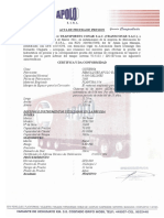 Acta de Prueba de Presion y Certificado de Fabricacion Modelo Zh 5071