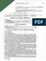 Postal Reorganization Act 1970 STATUTE 84 Pg719