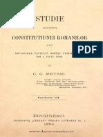 Studie Asupra Constituţiunei Românilor Saŭ Esplicarea Pactuluĭ Nostru Fundamental Din 1 Iuliu 1866. Volumul 3, G. Meitani