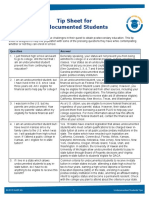 Tip Sheet for Undocumented Students