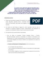 BAREMO PARA PLAZAS Del Departamento de Didáctica de La Expresión Musical, Plástica y Corporal. 16-0