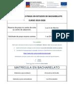 Datas de admisión nos estudos de Bacharelato 2019/2020