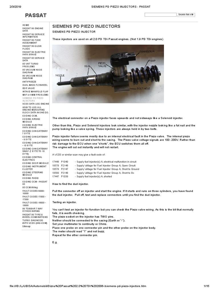 Siemens Pd Piezo Injectors - Passat | Fuel Injection | Electrical