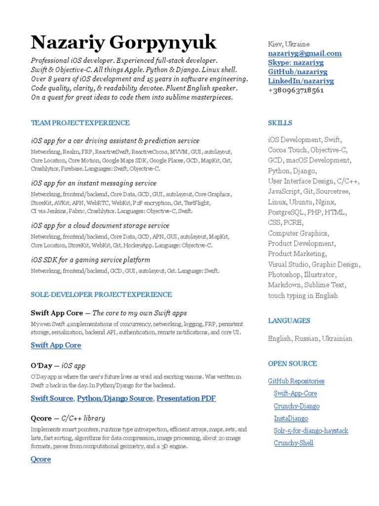 Nazariy Gorpynyuk's Resume | Swift (Bahasa Pemrograman) | iOS