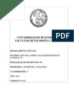 Historia de América III b (Schneider) - 1c 2019