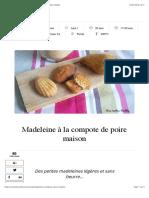 Madeleine à la compote de poire maison | Mes recettes Healthy.pdf