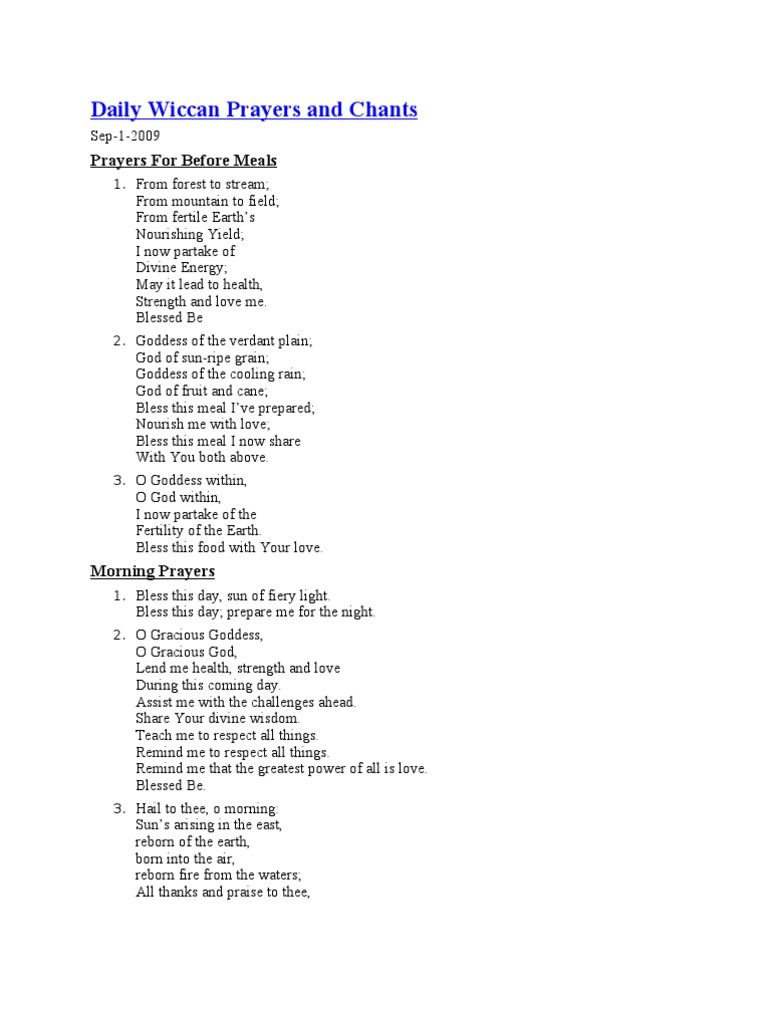 Daily wiccan prayers and chants wicca mother goddess buycottarizona Choice Image