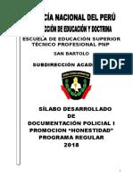 Silabo Documentacion Policial i Dic18