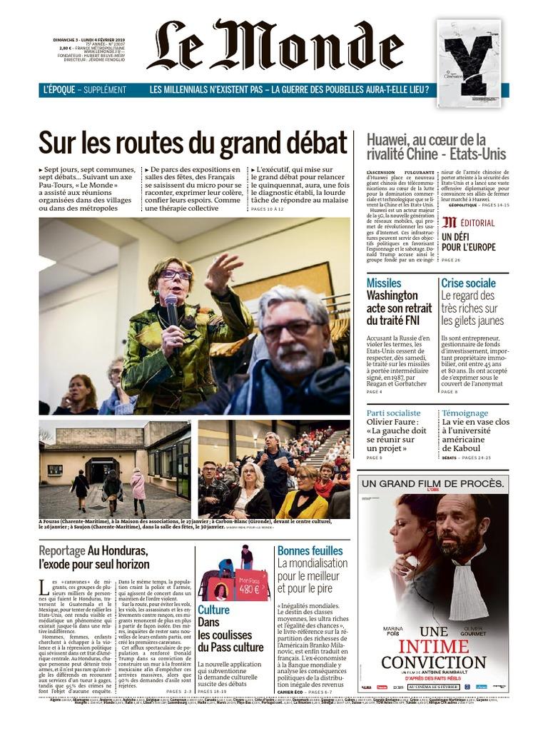 Journal LE MONDE Et Suppl Du Dimanche 3 Et Lundi 4 Fevrier
