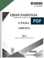 Naskah Soal UN IPA SMP 2015 Paket 1