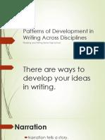 Patterns of Development in Writing Across Disciplines