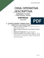 Memoria Operativa Descriptiva - Primeros Auxilios - Incendio y Explosión - Medidas a Tomar