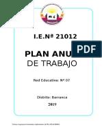 Plan Anual de La Institución Educativa 21012 -2019