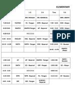 Class Schedule (2018-2019)