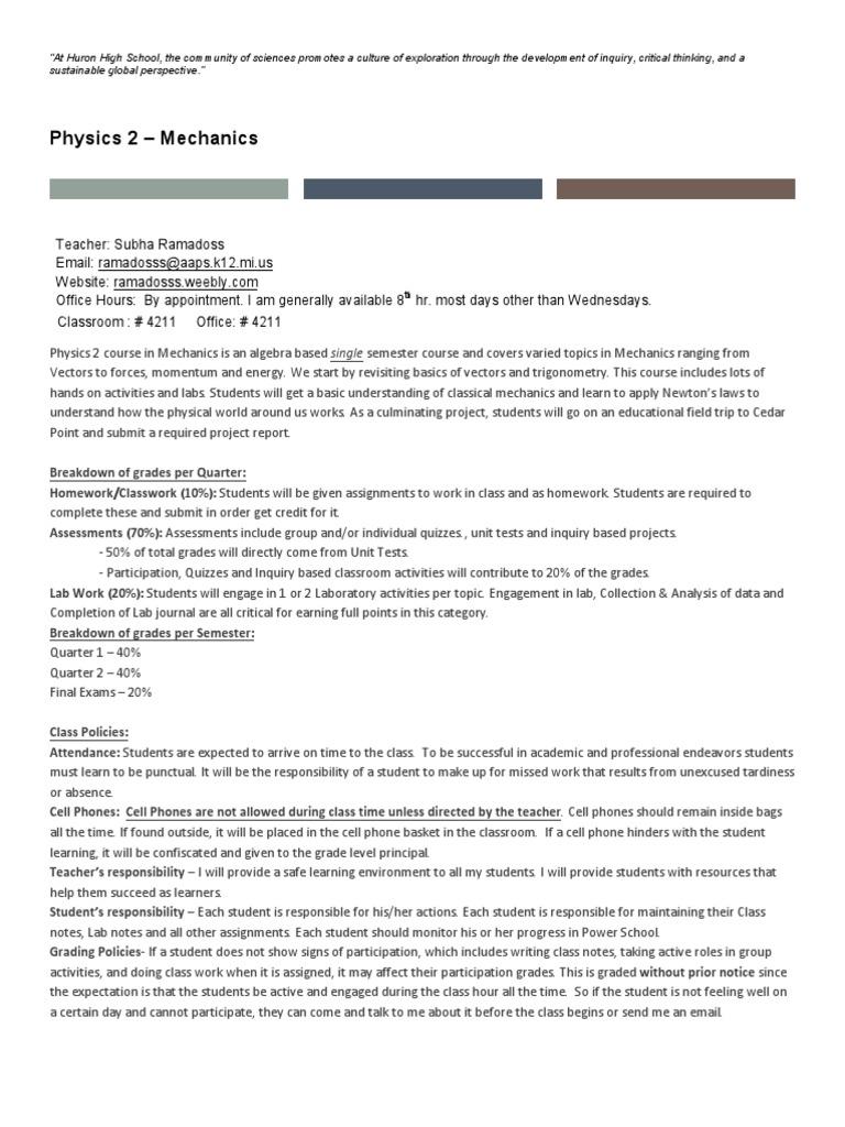 physics 2 mechanics syllabus huron ramadoss | Homework (20