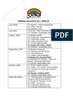 Sloka 2018 19 Holidays and Events List