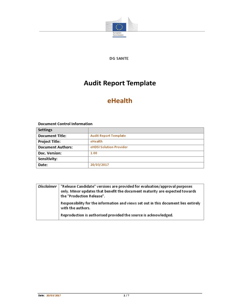 EHealth Audit Report Template v1 00 | Auditor's Report | Audit