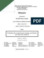 Evaluation Du Comportement Sismique Non Linéaire Des Réservoirs Surélevés