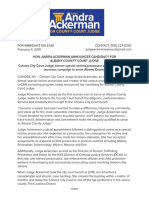 Judge Andra Ackerman Launches Bid for County Court - Press Release