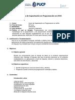 Sílabo de Curso de Capacitación en Programación en JAVA
