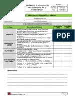 Anexo 01 - Checklist - Manutenção Nos Aparelhos de Ar Condicionado Mensal