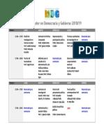 Horarios 2018/2019, Máster en Democracia y Gobierno, UAM