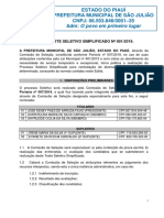 EDITAL TESTE SELETIVO SIMPLIFICADO Nº 001/2019 São Julião