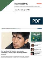 2014-07-14 José Huenchunao. La Apuesta de Huenchumilla Es Confundirnos y Contener Nuestra Demanda de Territorio y Autonomía