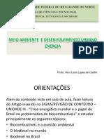 Meio Ambiente e desenvolvimento urbano energia