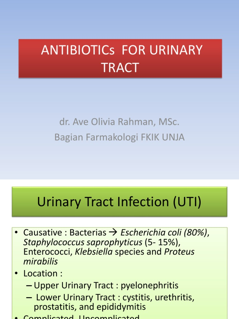Antibiotikum urethritis és prosztatitis