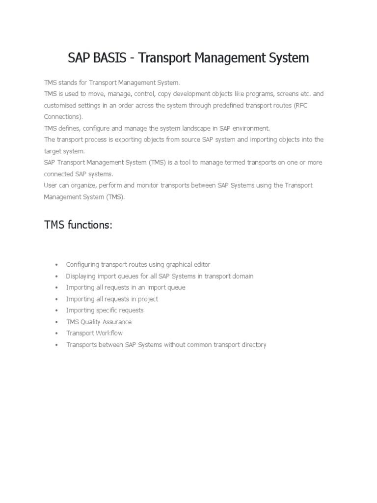 SAP BASIS - Transport Management System | Usuario