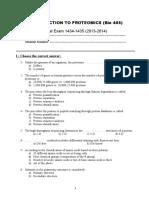 Proteomics Final Exam 2014