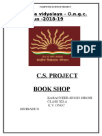 Cbse Class Xii Computer Science Project File on Book Shop 2019 Exam